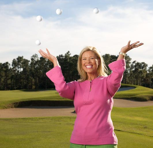 Michelle McGann juggling golf balls